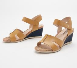 1*42 NEW Pikolinos Mostaza Leather Ankle Strap Wedge Sandals