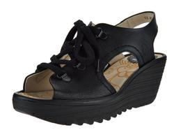 1*53 NEW Fly London Ylfa Black Leather Wedge Sandals Women's