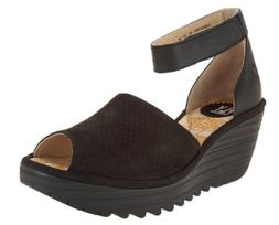1*58 NEW Fly London Yake Black Perforated Leather Wedges Wom
