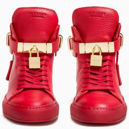 BUSCEMI 100MM ALTA RED LEATHER WOMEN'S HIGH-TOP WEDGE SNEAKE