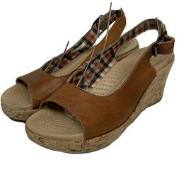 CROCS 11848 A-Leigh Cognac Brown Tan Leather Cork Wedge Slin