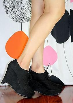 "118dr04886 Fashion Ankle Wedge Lace Up Casual 4.5"" High Heel"