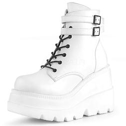 """Demonia 4.5"""" Wedge Platform Lace Up Gothic White Ankle Boots"""