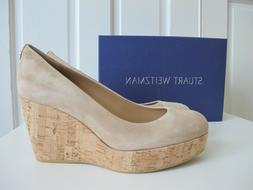 $440 Stuart Weitzman Dutchess Suede Nude Beige Wedge Shoes s