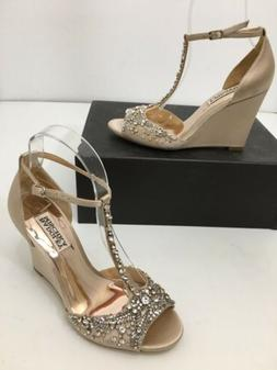BADGLEY MISCHKA 6.5 M WEDGE NUDE RHINESTONE SATIN  SARAH Wom