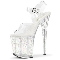 "8"" Clear Glitter Super High Platform Stripper Dancer Heels P"