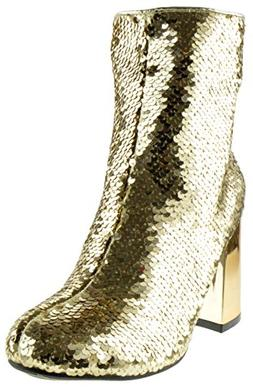 Forever Link Abigale 43 Womens Sequin Chunky Heel Ankle Boot