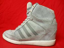 Adidas Womens Size 8 Neo Wedge Suede Grey Pink  Leopard Prin