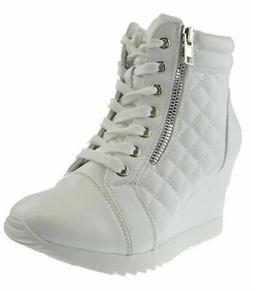 Forever Adriana 12 Womens Lace Up Quilted High Top Wedge Sne
