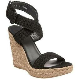 Stuart Weitzman Alex Stitch Wedge Sandal in Black 9 $325