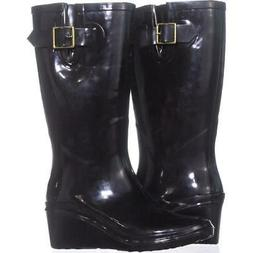 GB35 Alley Wedge Rain Boots 657, Black, 8 US