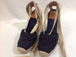 Tory Burch Ankle Lace Navy Canvas Closed Toe Espadrille Jute