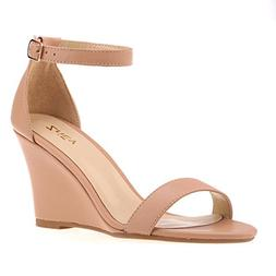 ZriEy Women's Ankle Strap Buckle Mid Wedge Platform Heeled S