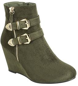 Forever Link Women's Ankle Strappy Buckle Zipper Wrapped Wed