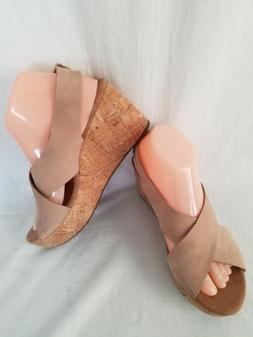 Clarks Artisan Caslynn Shae Wedge Platform Sandals Lt Tan Co