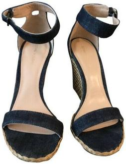 Stuart Weitzman Backup Wedge Espadrille Sandal Denim New in