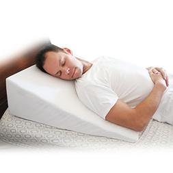 Deluxe Bed Wedge Pillow w/Removable Case - Best for Sleeping