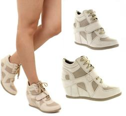 Beige Sneaker Wedge Heel Front Straps Quilted Lace up Women'