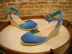 Adam Tucker Bethany Blue Ombre Ankle Strap Espadrille Wedge