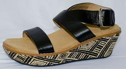 VIONIC Black & Tan Tribal Print CANCUN Wedge Sandals, Size 5