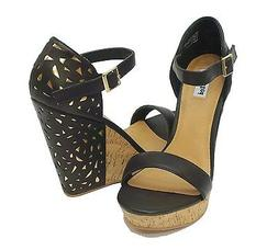 Not Rated Black Faux Leather VENETIAN LACE Wedge Sandals Wom