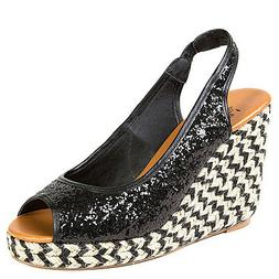 Black Gold Silver Glitter Platform Wedge Open toe Espadrille