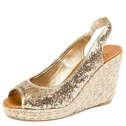Black Gold Silver Glitter Wedge Espadrille Open toe Platform