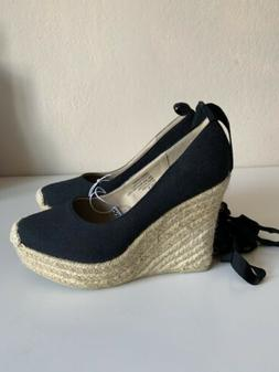 Mossimo Black Lace Up Espadrille Wedges Size 6 NWT