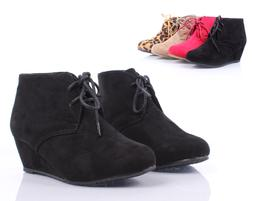 Black Lace Up Girls Wedge High Heels Kids Ankle Boots Youth