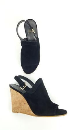 Stuart Weitzman Black Suede Open Toe Slingback Cork Wedge Sa