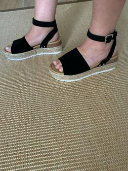 Forever Black Wedge Sandals With Ankle Strap Size 10