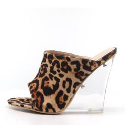 Cape Robbin BOA BABE Leopard Open Toe Clear Lucite Wedge Hee