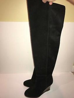 VINCE CAMUTO BOOT Granta Over The Knee Black Leather Wedge B