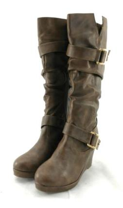 Forever Boots Womens Brown Side Zipper 3 1/2 inch Wedge Heel