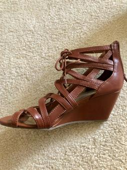 BRAND NEW Material Girl Women's Brown Strappy Wedge Sandals