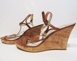 Michael Kors Brown Leather Cork Wedges Heels Size 11M New Wi