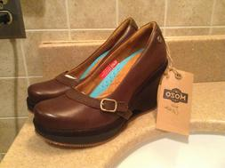 """MOZO BROWN LEATHER """"FRESCO WEDGE"""" COMFORT OXFORDS WOMEN'S SI"""