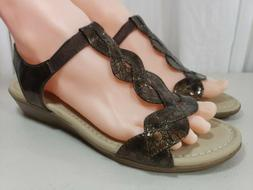 White Mountain Brown Slip On Wedge Sandals Shoes Womens Size