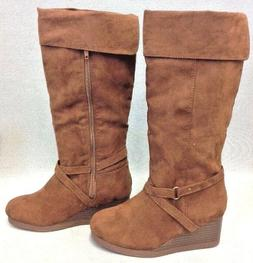 Rampage Girls Brown Suede Size US 1Y Wedge Boots TT6