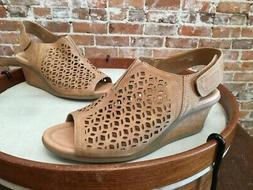 Earth Camel Suede Cutout Detail Cascade Wedge Sandals NEW