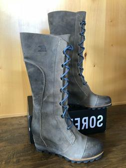 SOREL CATE THE GREAT WEDGE 8.5 Tall BLACK Women Boots Waterp