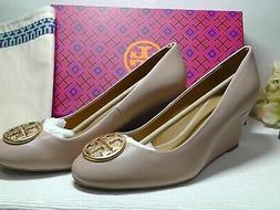 TORY BURCH Chelsea GOAN SAND Leather Wedge Pumps Size 7 ****