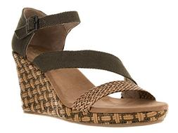 TOMS Women's Clarissa Wedge Olive Textile/Wrapped Sandal 8.5