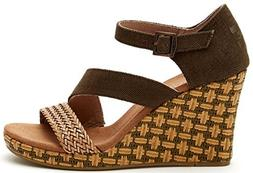 TOMS Women's Clarissa Wedge Olive Textile/Wrapped Sandal 5 B