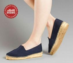 Classic low wedge navy blue herringbone espadrilles shoes -
