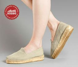 classic low wedge tan herringbone espadrilles shoes
