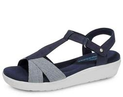 Grasshoppers Women's Clover Wedge Sandals Blue/White Casual