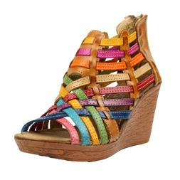 Colorful Genuine Leather Wedges Hand Braided Mexican Sandals