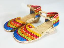 Handmade Colourful Raffia Sandals for Women wedge heels ladi