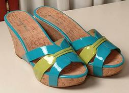 Nine West Cork Wedge Sandals - Size 9 - Turquoise/Green Pate